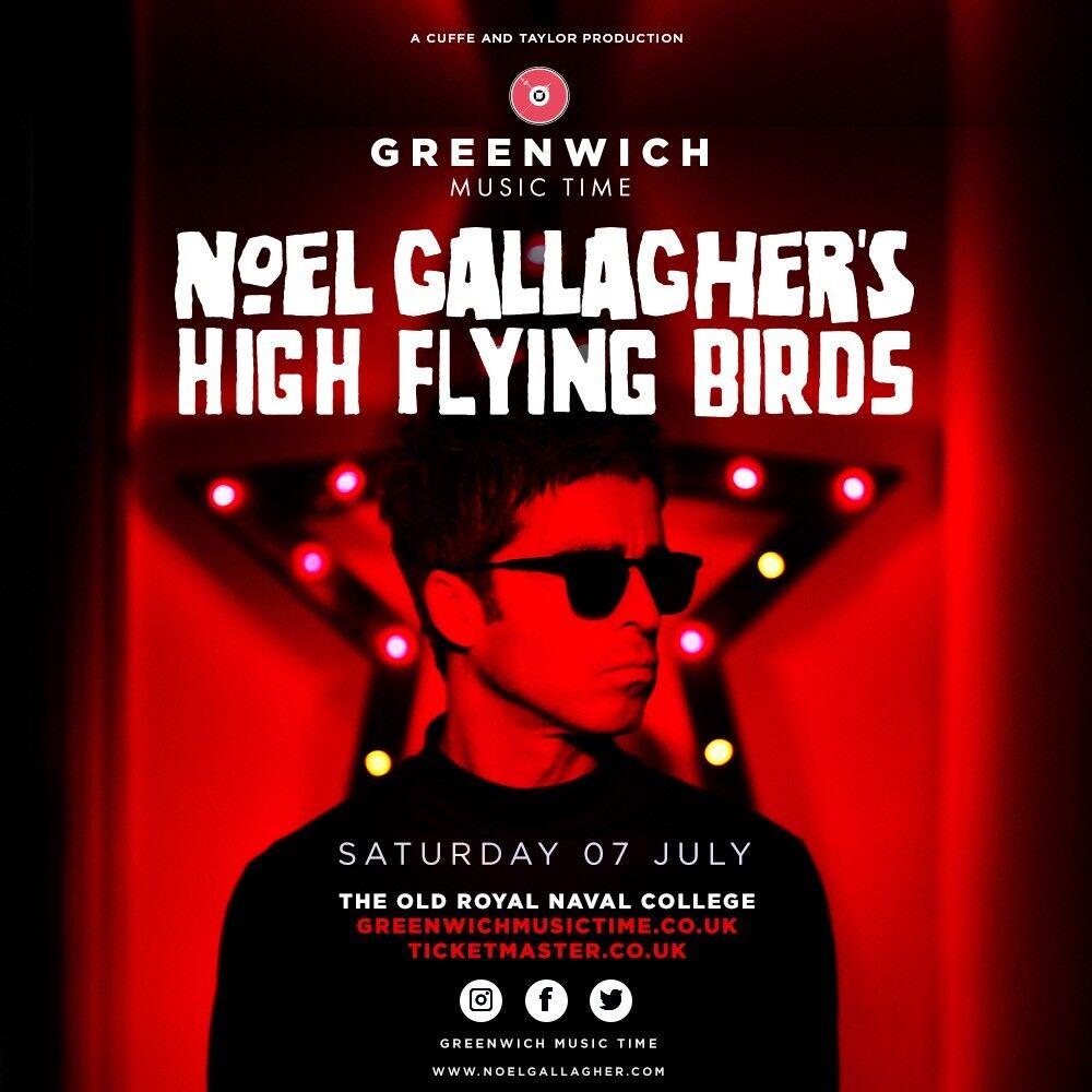 Front Block Noel Gallagher High Flying Birds Tickets Greenwich London 7/7/18