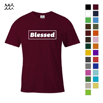 BLESSED CHRISTIAN PRINT T SHIRT JESUS CHRIST GRAPHIC SHIRTS GOD DESIGN TEE GIFT ()