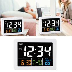 Alarm Clock Digital Big LCD Screen Display Time Date Week Temperature Display