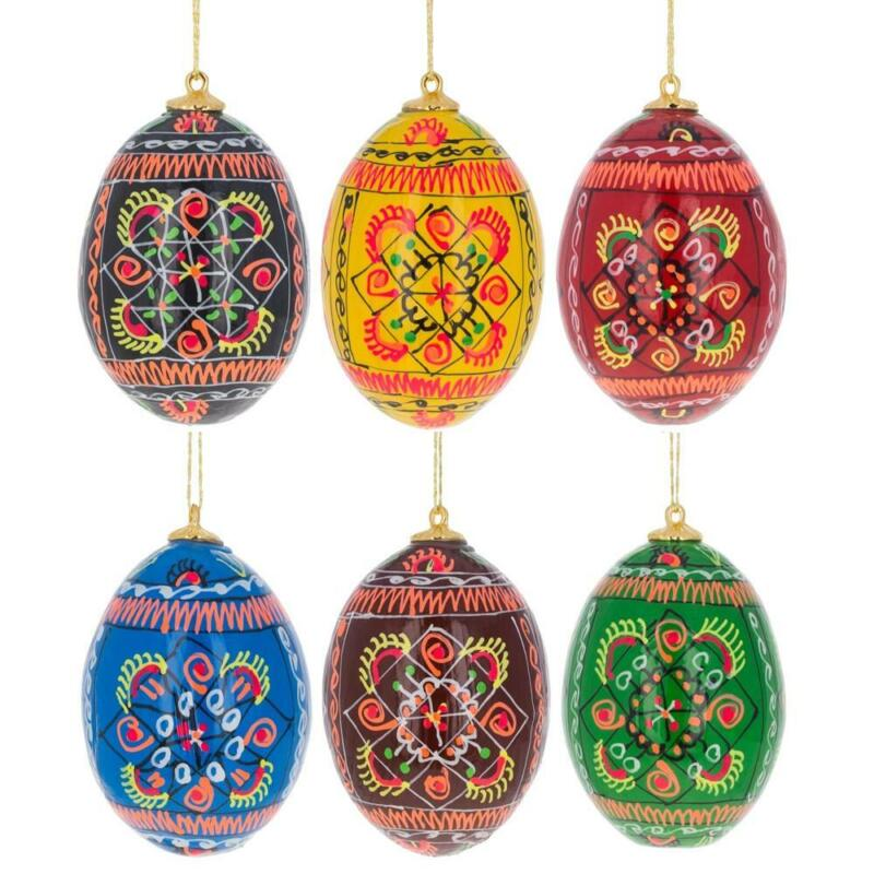 Set of 6 Ukrainian Geometric Wooden Pysanky Easter Eggs Ornaments