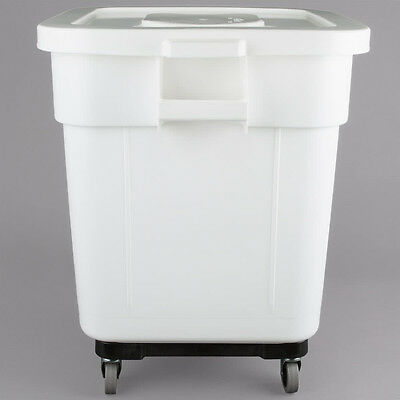 32 Gallon Nsf White Mobile Ingredient Storage Bin With Lid 274ingbin32