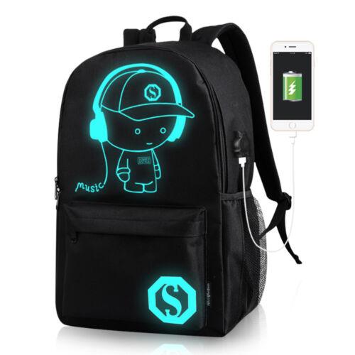 Waterproof Anime Laptop Luminous Backpack Crossbody  USB Cha