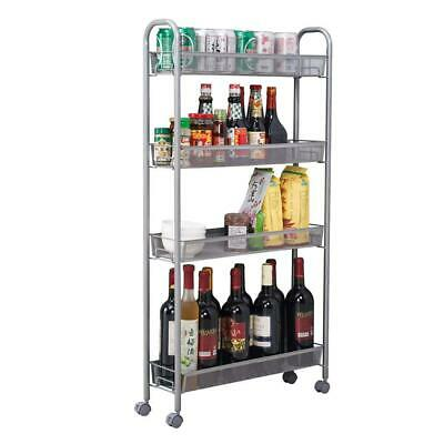 4-Tier Gap Kitchen Slim Slide Out Storage Tower Rack with Wheels, Cupboard