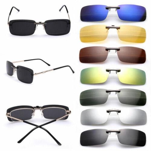 Polarized Sunglasses Clip-on Flip Up Square Full-Rim Frame Driving Glasses Clothing, Shoes & Accessories