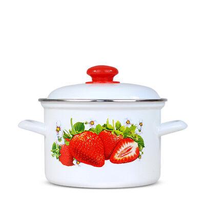 Topf mit Deckel - Erdbeere - 3L emailliert Kochtopf Suppentopf Eintopf Töpfe