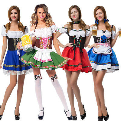 German Womens Beer Maid Bavarian Oktoberfest Outfit Fancy Dress Up Costume