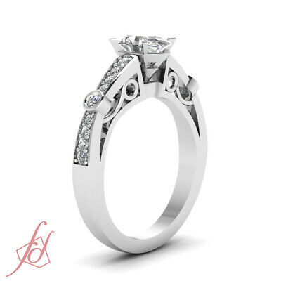 1.20 Ct Oval Shaped Diamond Pave Set Engagement Rings For Women SI1-E Color GIA 2