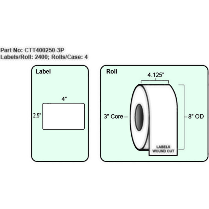 4x2.5 Thermal Transfer Label with Perf, 2400 Labels per roll, 4 rolls per case,