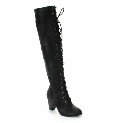 Forever Women's Chunky Heel Lace up Over-The-Knee High Ridin
