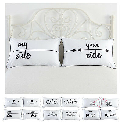 Set of 2 Couples Pillow Cases Letters Printed Pillowcases Bedding Wedding Gift