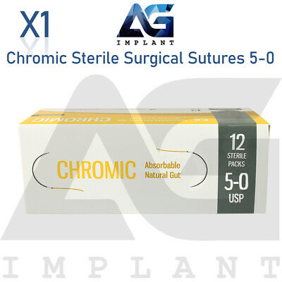 5-0 Chromic Sterile Surgical Sutures Absorbable Monofilament Medical Dental 12pc
