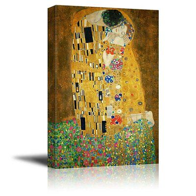 Canvas Print- The Kiss by Gustav Klimt Giclee Printed Famous Painting- 24
