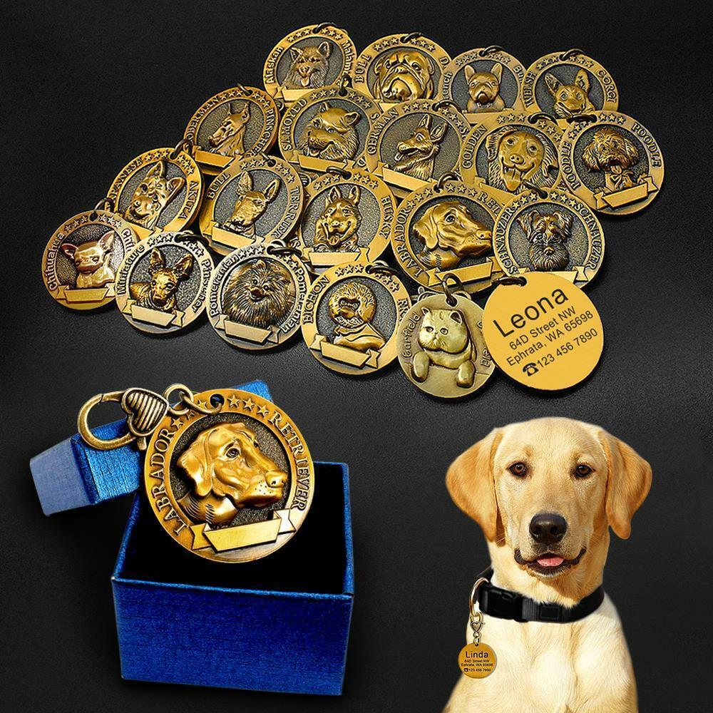 Dog ID Tag Metal Customizable Nameplate Pet Pendants Puppy C
