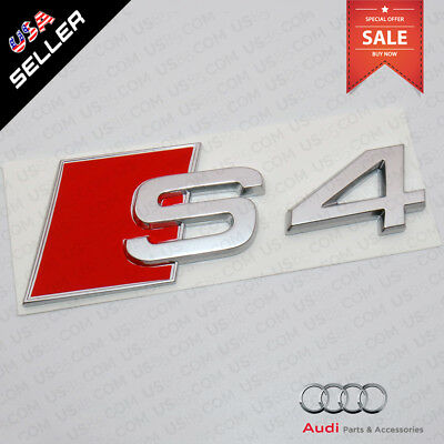 ABS Nameplate Audi S4 Silver Emblem 3D Trunk Logo Emblem Badge Decoration