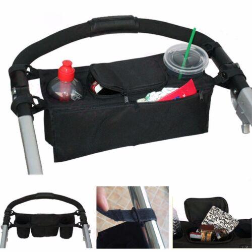 For Uppababy stroller cup holder bottle keys bag diaper organizer NEW Black