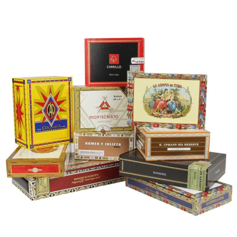 SET OF 10: Empty DECORATIVE Cigar Boxes [Set/10]