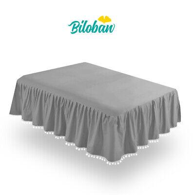 Girl Crib Skirt Baby Bedding Skirt Pleated Dust Ruffle Cribskirt Grey 52