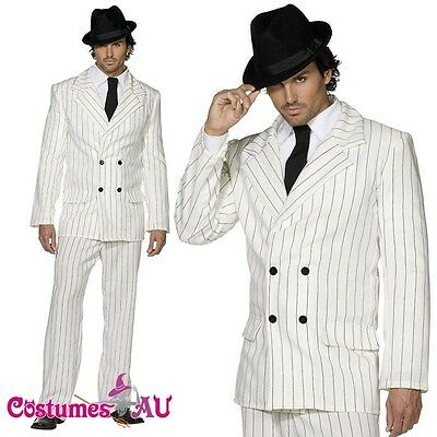 Mens 20s 1920s White Gangster Costume Pinstripes Male Mobster Fancy Suit Dress](1920 Male Costumes)