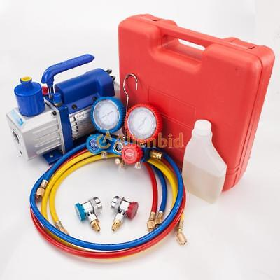 3 Cfm 14hp Air Vacuum Pump Hvac Refrigeration Ac Manifold Gauge R22 R134a Kit