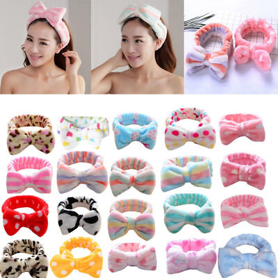 Elastic Women Princess Polka Dot Coral Velvet Bow Headband Makeup Wash Hair Band](Princess Headband)
