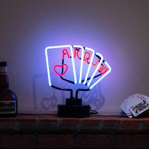 Neon-Luz-Bar-Pub-Noche-Club-apuestas-CASINO-den-ROYAL-FLUSH-Poker-Escultura