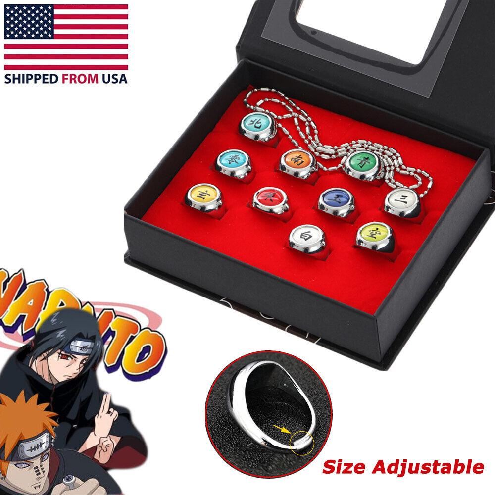 10 Pcs Naruto Rings Set NARUTO Akatsuki Member's Cosplay Ring in Box With Chain Animation Art & Merchandise
