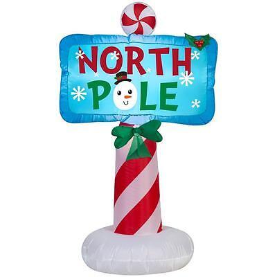 CHRISTMAS SANTA NORTH POLE SIGN  AIRBLOWN INFLATABLE YARD DECORATION 3.5 - Inflatable Santa
