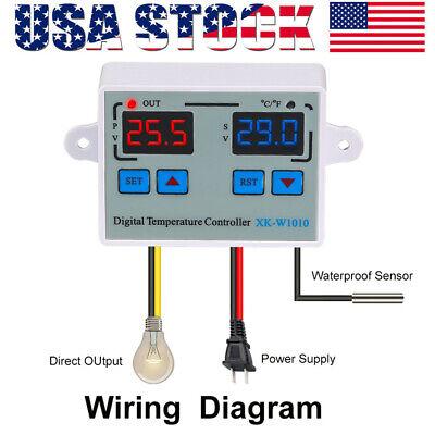 Incubator Digital Temperature Controller Thermostat Switch Probe Tester 110-220v