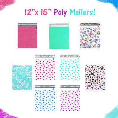 12 X 15 Designer Poly Mailers Pinkteal Polka Dotshearts Flat Shipping Bags