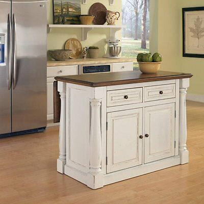 Home Styles Monarch Kitchen Island, White, 48 inches
