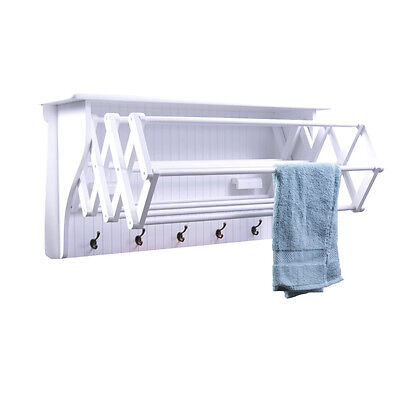 White Wall Mount Folding Accordion Clothes Dryer Rack with 5 Hooks