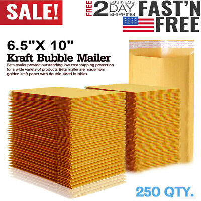 250 0 Wide Kraft Bubble Padded Envelopes Mailers 6.5 X 10 Inch 2550100200