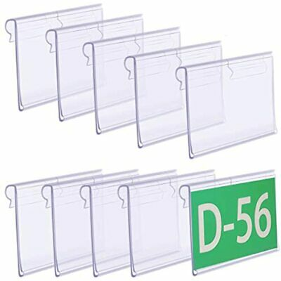 Twdrer 80 Pcs Clear Plastic Label Holders For Wire Shelf Retail Price Card Sign
