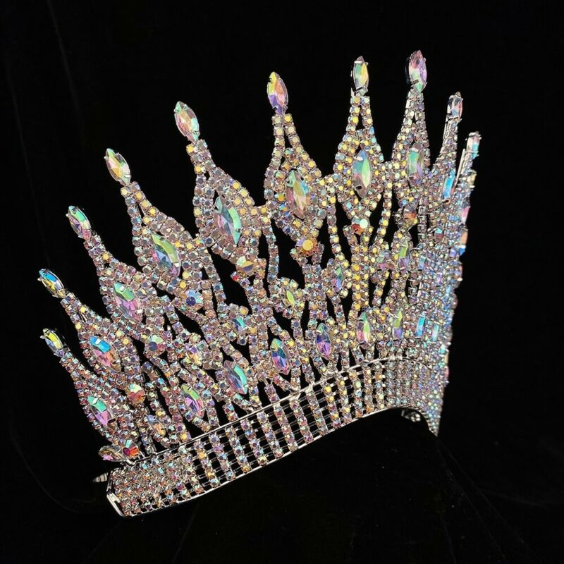 LIMITED NEW! Rhinestone Pageant Crystal Crown Tiara Drag Queen 6 inch USA SELLER