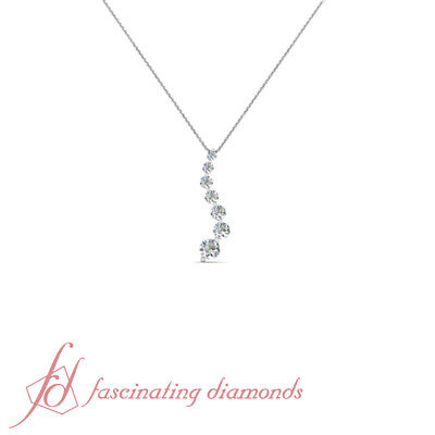 Prong Set Journey Pendant 1 Ct Round Cut 7 Stone Brilliantly Crafted Diamond -