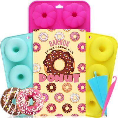 3pcs 6-Cavity Silicone Donut Cupcake Mold Muffin Chocolate Cake Baking Mould Pan 6 Cavity Pan