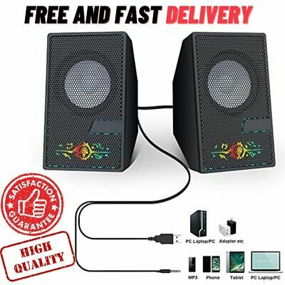 Computer Speakers Desktop PC Speakers with 3.5mm Aux Jack, USB Powered black, US