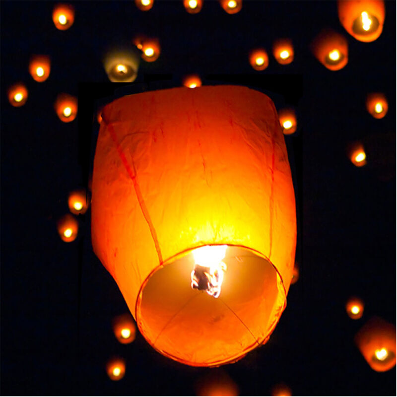 (50) White Paper Chinese Lanterns Sky Fly Candle Lamp for Wish Party Wedding
