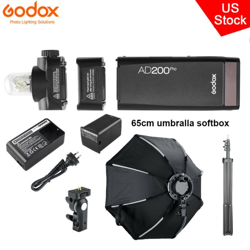 US Godox AD200Pro TTL 2.4G Pocket Camera Flash+65cm Umbralla Softbox Stand Kit