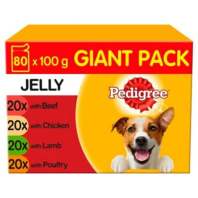 Pedigree Adult Mixed Selection in Jelly Wet Dog Food Pouches - 80 x 100g