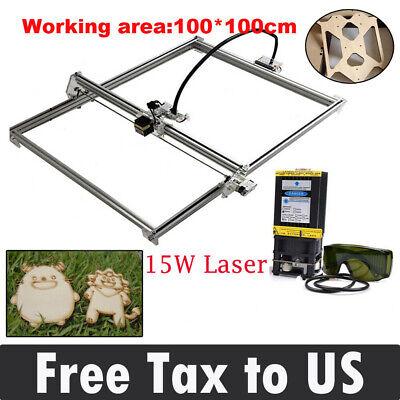 Cnc 100100 Laser Engraver Kit 15w Laser Module Head Wood Carving Milling Frame