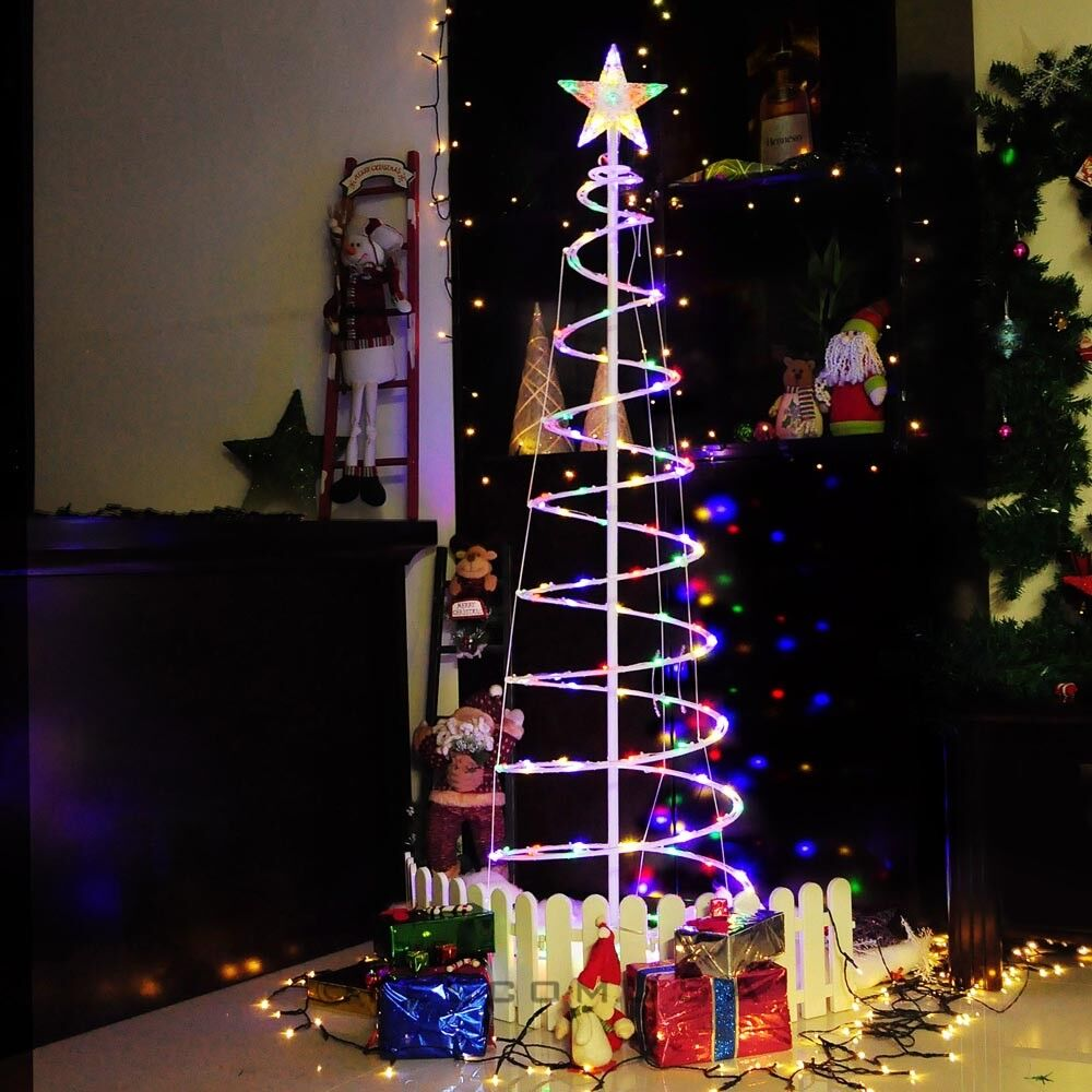apluschoice 6 ft color changing christmas led spiral tree light xmas new year lamp battery - Outdoor Christmas Spiral Tree Decorations