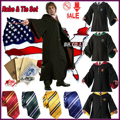Harry Potter Costume Adult Child Cloak Cape Gryffindor Robe Tie Scarf Halloween