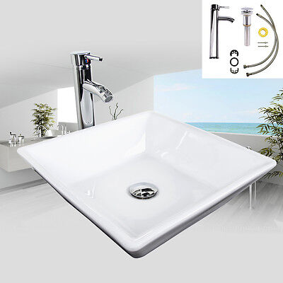 Bathroom Ceramic Vessel Sink Drain Faucet Basin Vanity Combo White Tempered Bowl