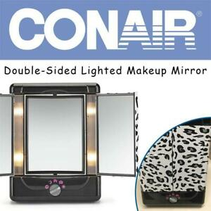 NEW Conair Double-Sided Lighted Makeup Mirror, Cheetah Condtion: New