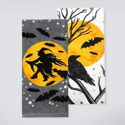 Celebrate Halloween Together Witch Crow Bat Silhouette Kitchen Towel 2-pack -NEW - Halloween Bat Silhouette