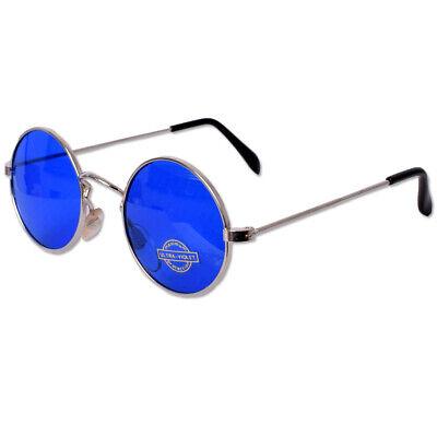 Runde Lennon Hippie Nickelbrille Sonnenbrille UV Gestell Metall Silber  Blau