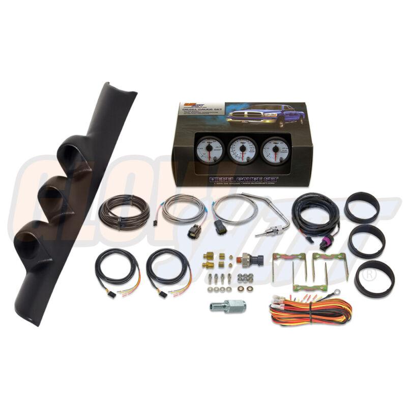 W7 Boost EGT Fuel PSI Gauges + Triple Pod for 94-97 Dodge Ram 3500 12v Cummins