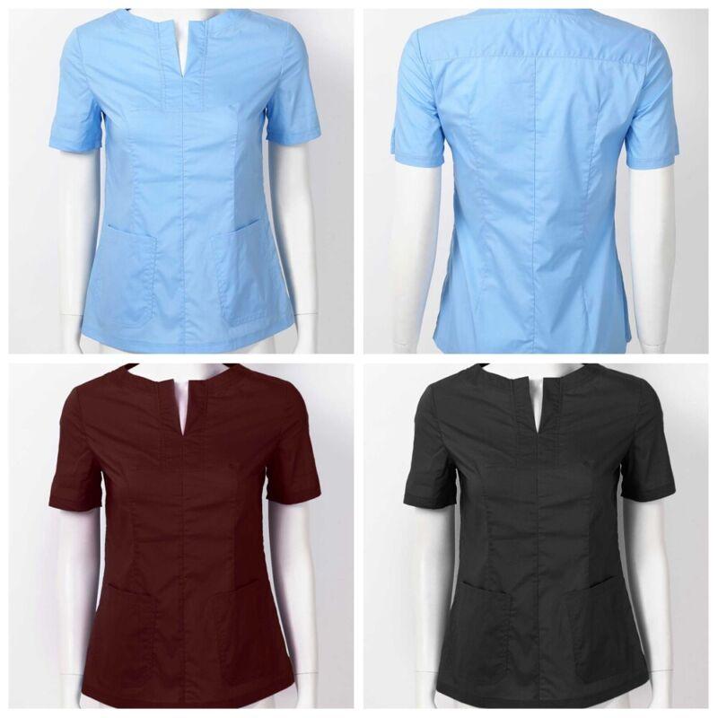 Women/'s Fashion Nursing Scrub Tops Uniforms V Neck Petal Short Sleeves Top #S-XL