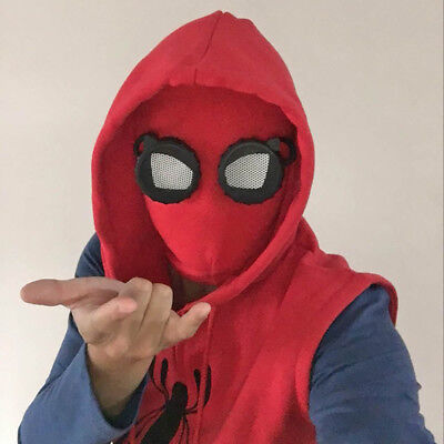 Homecoming Spiderman Red mask Cosplay party prop Costume faceshell with goggles
